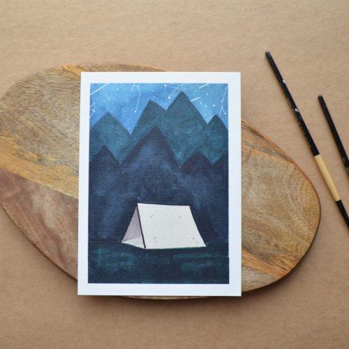 Lámina ilustrada camping