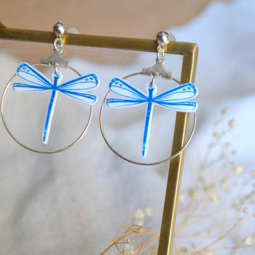 pendientes libélula azul