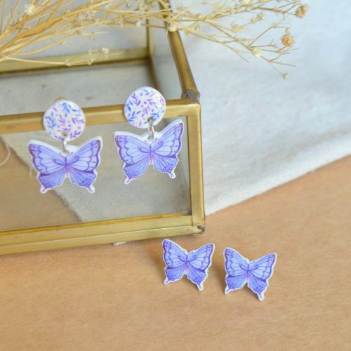 Pendientes mariposas lilas