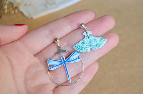 pendientes libélula azul Pendientes polilla verde